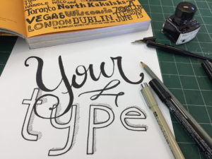 hand lettering into polymer plate letterpress